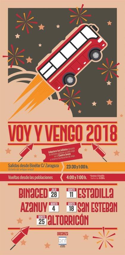 El autobús 'Voy y vengo' de Binéfar comenzará sus rutas el 28 de julio con las fiestas de Binaced