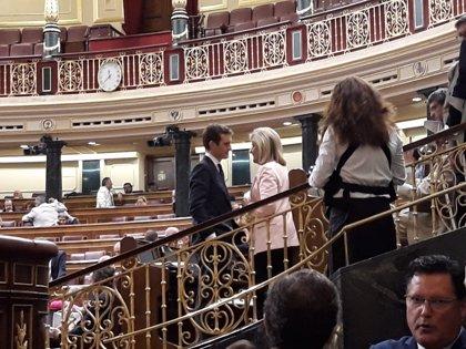 Pablo Casado ocupa su nuevo escaño en el Congreso y saluda personalmente a sus diputados
