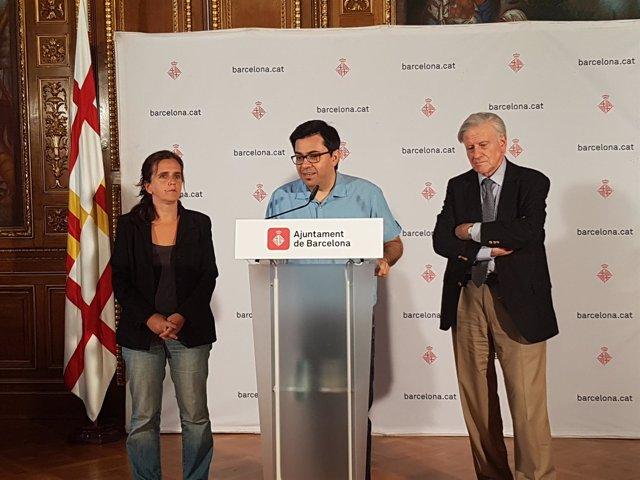 Gemma Tarafa, Gerardo Pisarello y Valentí Fuster