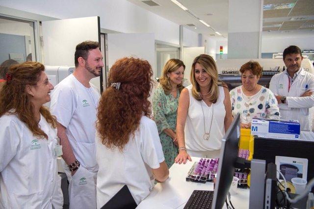 Susana Díaz en el Hospital de La Línea