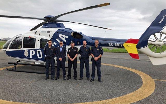La Policía Nacional refuerza la seguridad de Santander y Torrelavega con un helicóptero