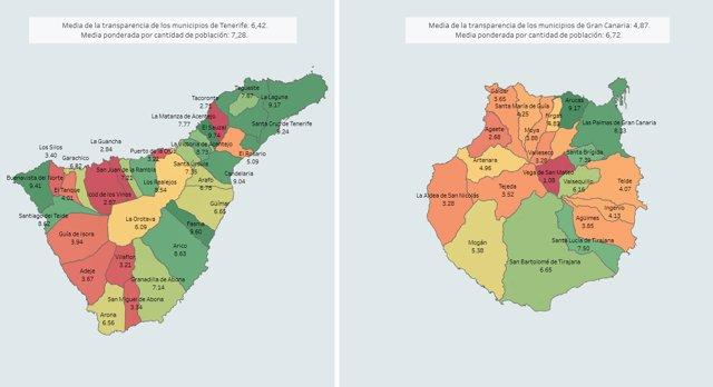 Mapa Municipios Gran Canaria.Aprobados En Transparencia 7 Municipios De Gran Canaria Y 21