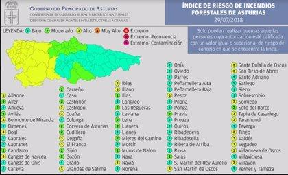 El occidente asturiano está en riesgo alto por incendios este domingo