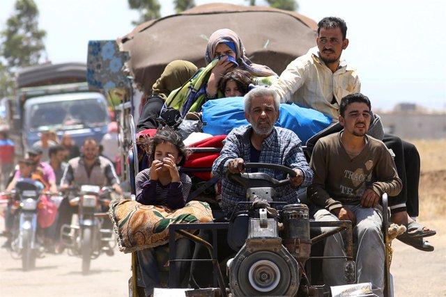 Desplazados internos de Deraa llegan a Quneitra