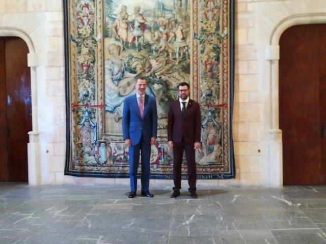 El Rey Felipe VI recibe en audiencia al alcalde de Palma, Antoni Noguera