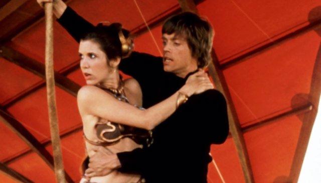 Carrie Fisher y Mark Hamill en el rodaje de Star Wars