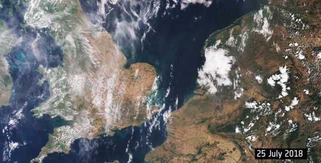 El calor tiñe de marrón el habitual verdor de Europa a vista de satélite