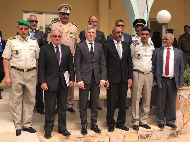 El ministro del Interior, Fernando Grande-Marlaska, en Mauritania