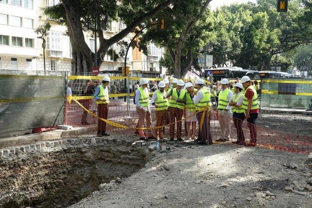 El alcalde de Málaga visita las obras de la Alameda Principal