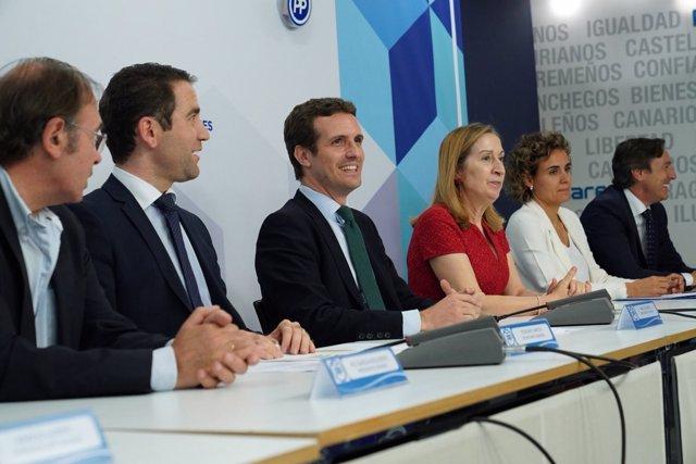 Pablo Casado preside la reunión con parlamentarios que ha convocado en 'Génova'