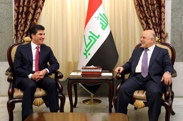 Al Abadi y el primer ministro del Kurdistán iraquí, Nechirvan Barzani