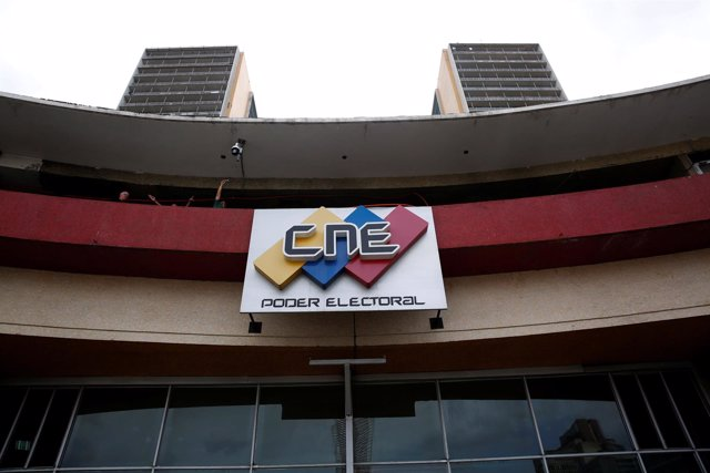 The logo of the National Electoral Council (CNE) is pictured at its headquarters