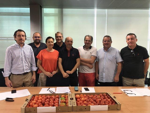 Equipo investigador sobre los tomates de canarias