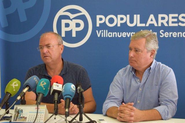 Monago y Manuel Lozano en rueda de prensa este martes en Villanueva de la Serena
