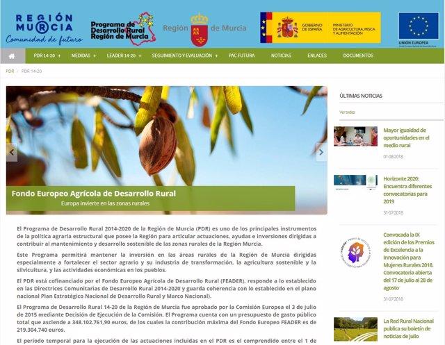 Imagen de la nueva página web del Programa de Desarrollo Rural de la Región