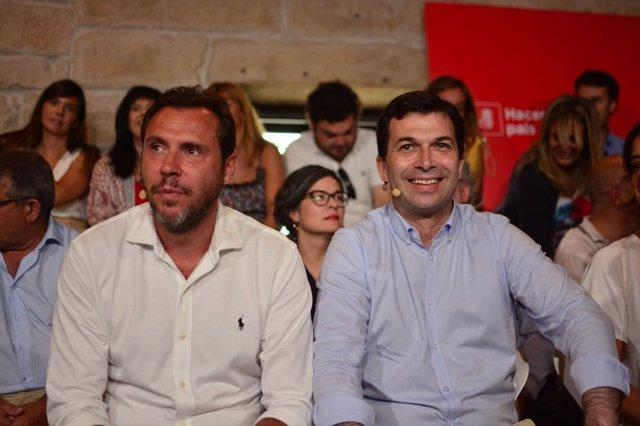 El portavoz del PSOE, Óscar Puente, y el líder del PSdeG, Gonzalo Caballero