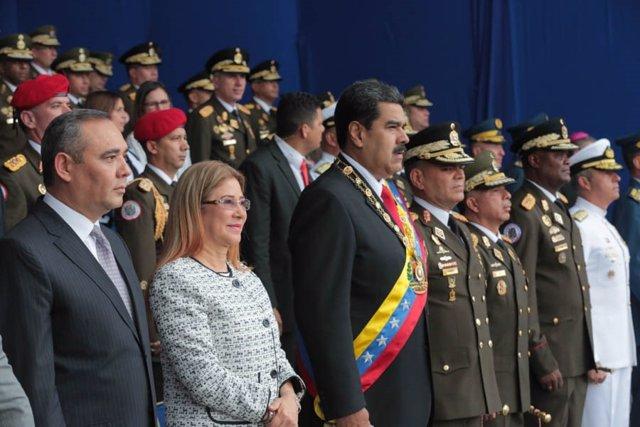 Maduro en un desfile militar en Caracas