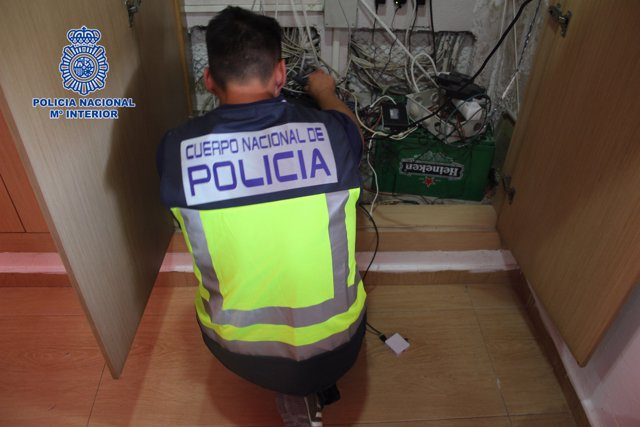 Imagen de la intervención de la Policía Nacional