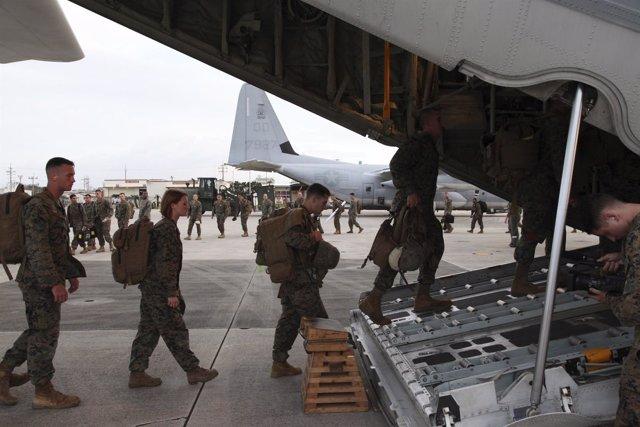 Militares norteamericanos en la base del ejército de  Estados Unidos en Okinawa