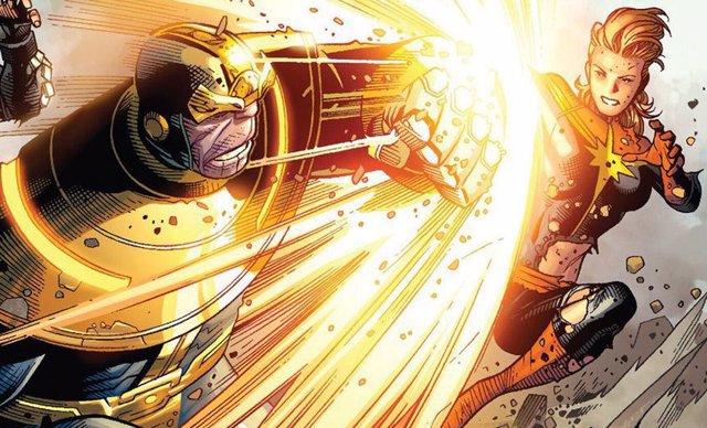 Capitana Marvel contra Thanos en los cómics de Marvel