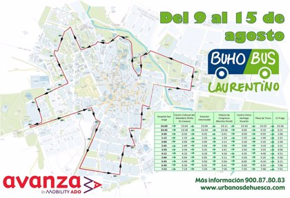 El Búho-Bus Laurentino recorre Huesca durante todas las noches de las fiestas de San Lorenzo