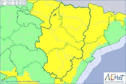 Aviso amarillo por lluvias y tormentas en todo Aragón