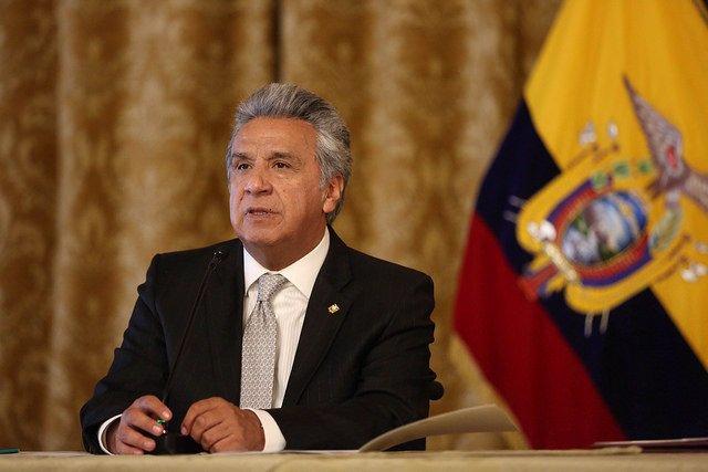 Lenín Moreno, presidente de Ecuador, durante el anuncio