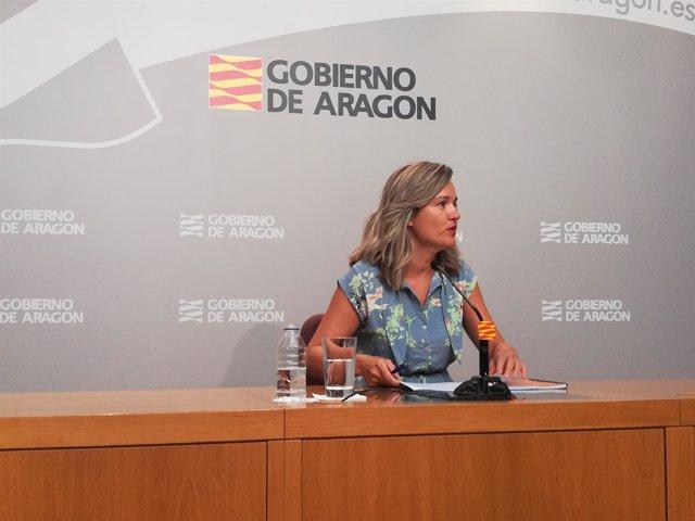 Rueda de prensa de la consejera del Gobierno de Aragón, Pilar Alegría