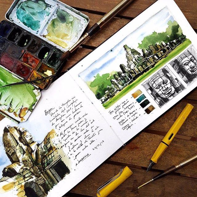 Libro de viaje en acuarela - Camboya