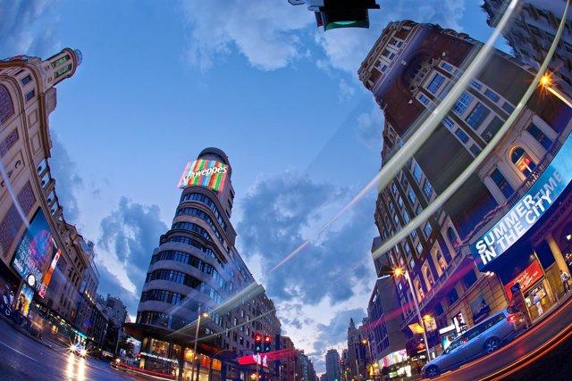 Vista de la plaza de Callao en Madrid