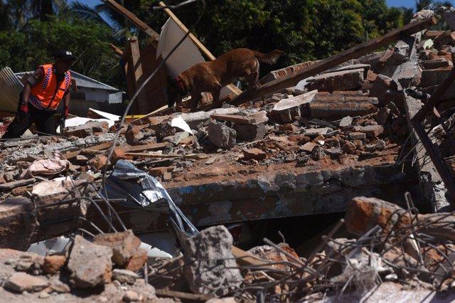 Edificios destruidos por el terremoto en Pemenang,en la isla indonesia de Lombok