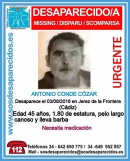 Cartel de búsqueda del desaparecido Antonio Conde Cózar