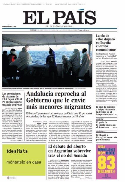 Las portadas de los periódicos del 10 de agosto de 2018