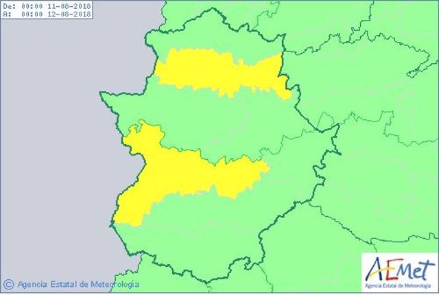Avisos en Extremadura para 10 de agosto