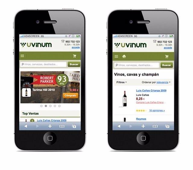 Compra online de vino por móvil