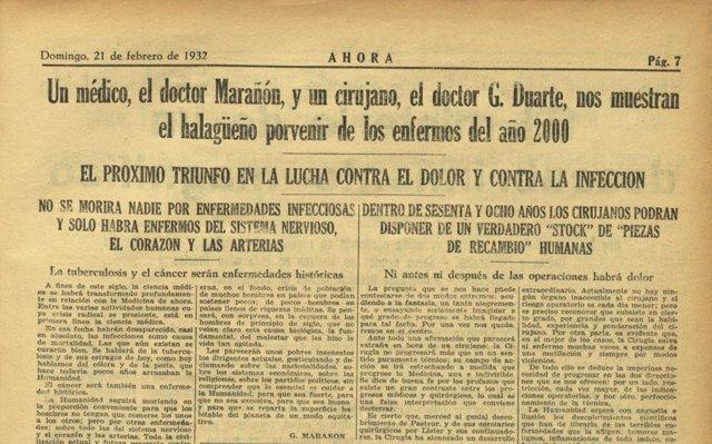 Reportaje en el diario Ahora de 1932 sobre predicciones del año 2000