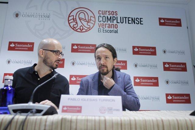 Nacho Álvarez y Pablo Iglesias en los cursos de verano de El Escorial