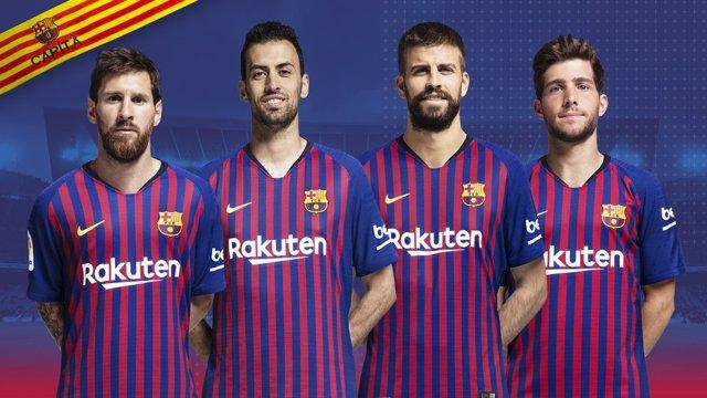 Leo Messi, Sergio Busquets, Gerard Piqué y Sergi Roberto capitanes Barcelona