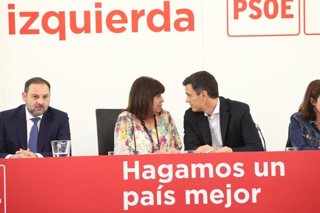 Ábalos, Narbona y Sánchez en la reunión de la Comisión Ejecutiva Federal