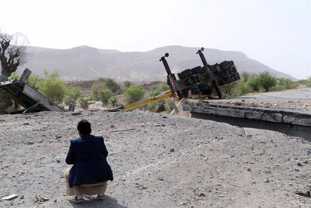 Daños por los ataques aéreos sobre la ciudad yemení de Saada
