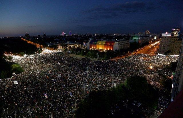 Manifestación contra el Gobierno rumano en Bucarest