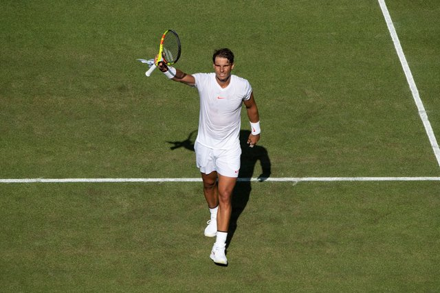 Rafa Nadal celebra su victoria en Wimbledon