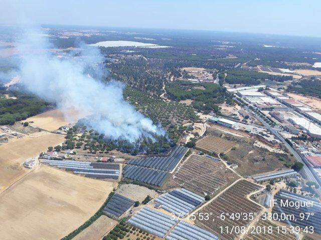 Incendio en Moguer.