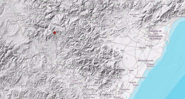 Localización del epicentro del terremoto en Higueras del 12 de agosto de 2018