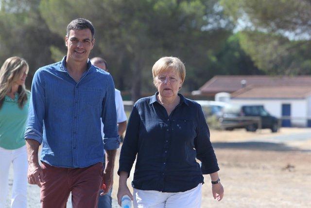 Pedro Sánchez y Angela Merkel en El Acebuche