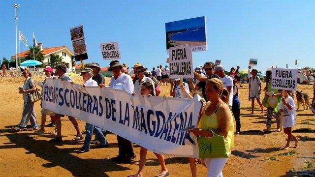 Acción reivindicativa para pedir la paralización de los diques de la Magdalena.