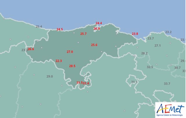 Mapa de Cantabria de temperaturas máximas el 12 de agosto de 2018