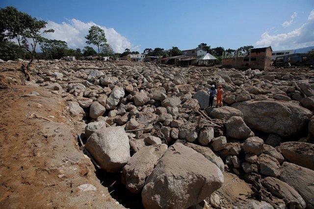 Restos de las inundaciones en Mocoa, el año pasado