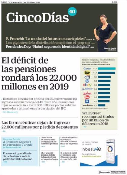 Las portadas de los periódicos económicos de hoy, lunes 13 de agosto