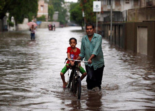 Inundaciones provocadas por el monzón en Ahmedabad